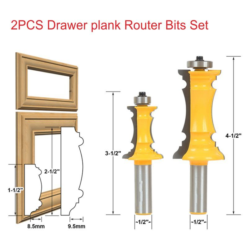 2pcs 1/2*63.5mm+1/2*1-1/2 Wood Woodworking Cutter Drawer Plank Router Bits Set Drawer lace knife ep1800lc 2