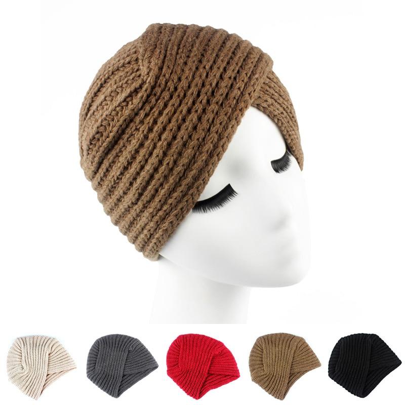 ᗛLana de invierno de punto turbante cabeza giro cinta hat Cap Chemo ...