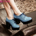 QUTAA 2017 Women Oxfords High Heel Shoes Fashion Lace Up Casual Lady Shoes Women British Retro Pumps 3 Colors Size 34-43