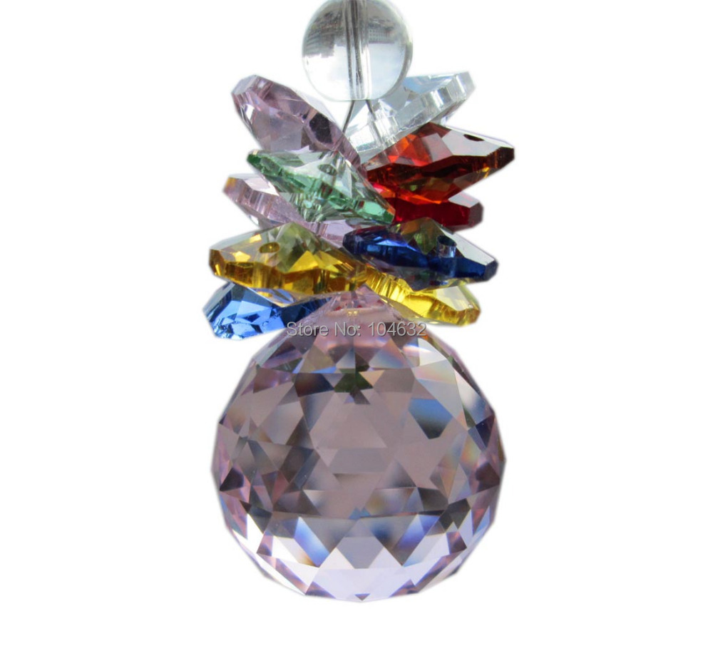 Feng shui 30mm crystal ball&14mm octagon beads healing crystals suncatcher wedding decorationcrystal chandelier parts 1871