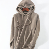 goat cashmere wool blend 7F thick knit women winter fashion hooded pullover sweatshirts coat S XL/euro size