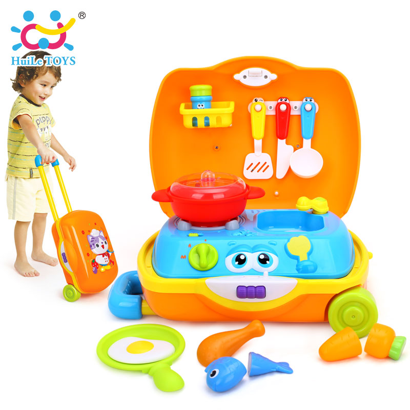 HUILE TOYS 3108 Baby Toys Kids Traveling Picnic Cooking Suitcase Toy included stove, utensils, plates, toy meal, bacon, and eggs huile toys 3108 baby toys traveling picnic cooking suitcase toy included stove utensils plates toy meal bacon and eggs