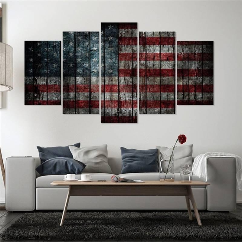 Leinwand Malerei Abstrakte Wand Kunst Wohnkultur Für Wohnzimmer 5 Stücke  Vintage Amerikanische Flagge Poster Hd Gedruckt
