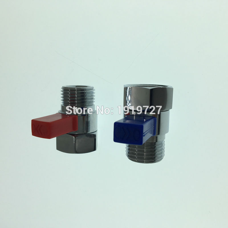 2 Pcs Red Blue Brass Flow Control Valve Water Pressure Reducing For Bidet Spray Or Hand Shower Head Diverter Shut Off Switch