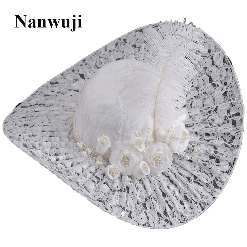 Women Large Flower Feather Wedding Hat Girl Charming Sinamay Fascinators Design with Special Shape Fashion Headpiece