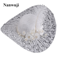 Women Large Flower Feather Wedding Hat Girl Charming Sinamay Fascinators Design with Special Shape Fashion Headpiece цены