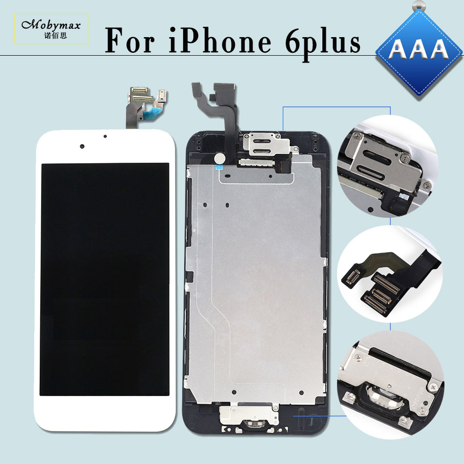 Mobymax 5PCS/Lot LCD Ecran Pantalla for iPhone 6 Plus 5.5 Touch Screen Digitizer Display Full Assembly+Home Button+Front Camera