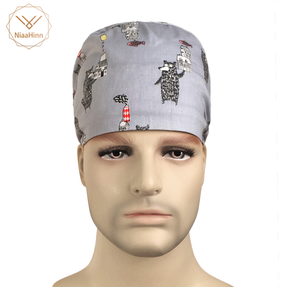 New Nursing Print Surgical Scrub Caps Hats Medical Work Hearwear 100% Cotton Surgeon OR Hat Veterinary Cap Dentist Nurse Caps