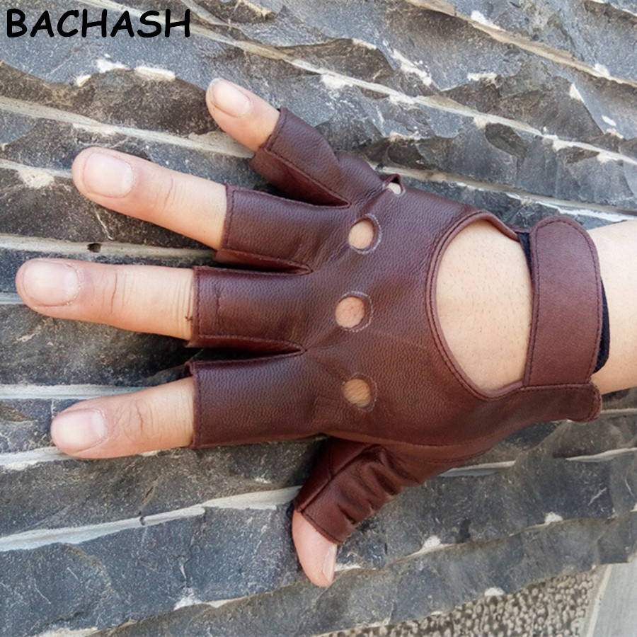 BACHASH 100% Goat Leather Drop Shipping 2018 Fashion Half Finger Driving Women Gloves 1 Pcs Leather Gloves For Women Brow Solid