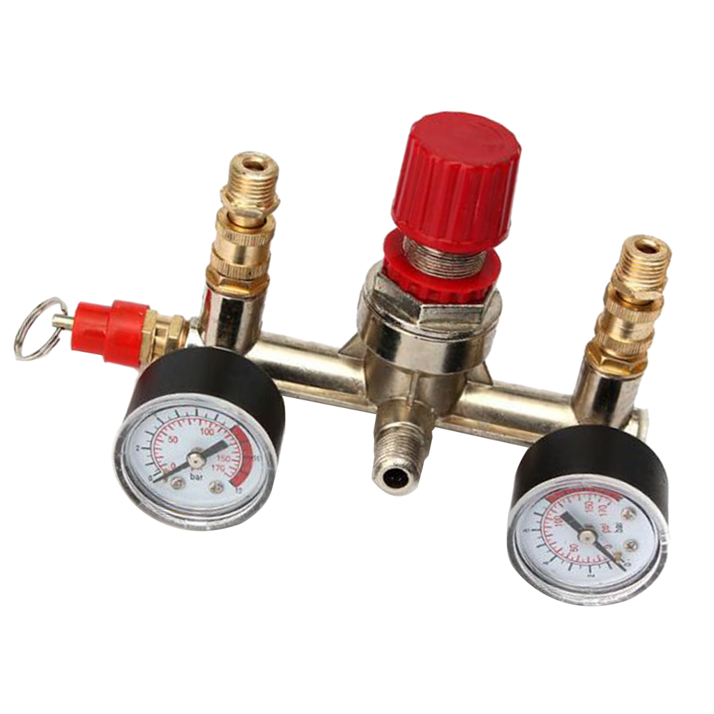 Image 3 - Air Compressor Pressure Valve Switch Manifold Regulator Gauge 175psi-in Pneumatic Parts from Home Improvement