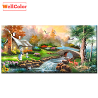 WELLCOLOR Fairyland Scenery Diamond Embroidery DIY 5D Full Crystal Diamond Mosaic Landscapes 3d Mazayka Painting Picture