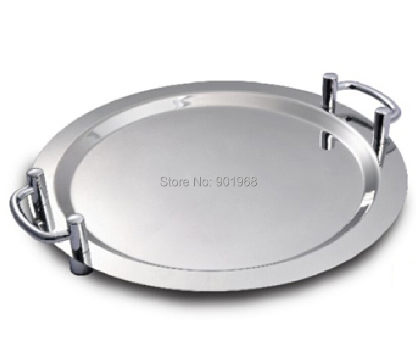 restaurant kitchen ware 20inch stainless steel round serving tray food tray with silver handle