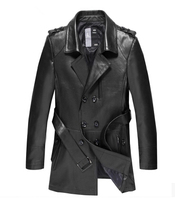 Бесплатная доставка Пояс дизайн 100% Коускин Бизнес Повседневная кожаная Тренч мужчин slim fit натуральная кожа куртка мужчины/PY24