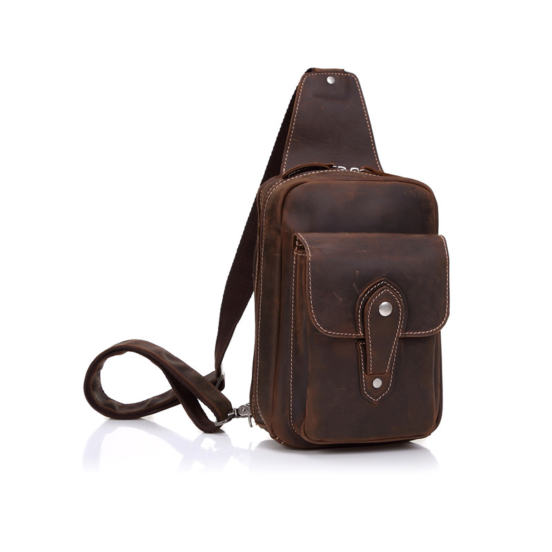 Nesitu Brown Color Vintage Real Skin Genuine Leather Women Man Chest Bags Crazy Horse Leather Men Messenger Bag #M8065 men travel bags crazy horse cow skin real leather man bags fashion design men shoulder bags