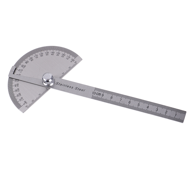 Goniometro Ruler Goniometer Stainless Steel Protractor Round Head Angle 180 Degrees Rotation For Handymen Or Builders 90*150mm