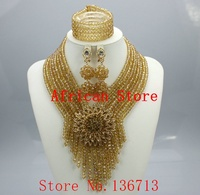 Purple Nigerian Wedding African Beads Jewelry Set Crystal Beads Gold Plated African Costume Jewelry Set Free
