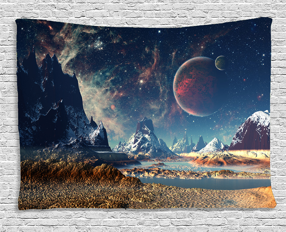 Wall Tapestry Hanging Uphome Planet with Earth Moon and Mountains Pattern Light-weight Polyester Fabric Wall Decor Tapestry