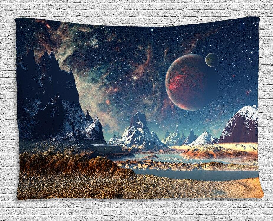 Wandteppich Hängen Uphome Planeten mit Erde Mond und Berge Muster leichte Polyester Stoff Wand-dekor Tapisserie