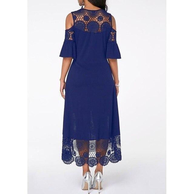 Summer Autumn Dress Women 2019 Casual Plus Size Slim White Lace Maxi Dresses Elegant Vintage Sexy Off Shoulder Long Party Dress 4