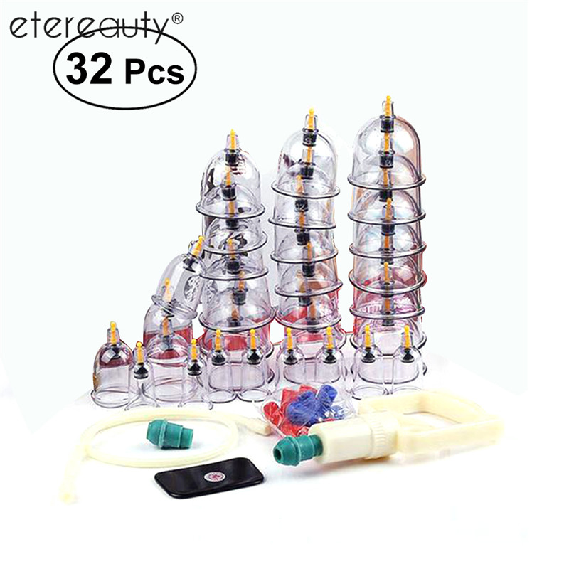 ETEREAUTY 32 Cups Acupuncture Massage Cupping Therapy Set Chinese Vacuum Cupping Magnetic Heads Acupuncture Massage Set pig acupuncture model animal acupuncture model