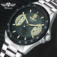 Победитель официальная мода платье автоматические механические часы для мужчин Стальной ремешок Рабочая Sub dial дисплей мужские часы Топ бренд класса люкс
