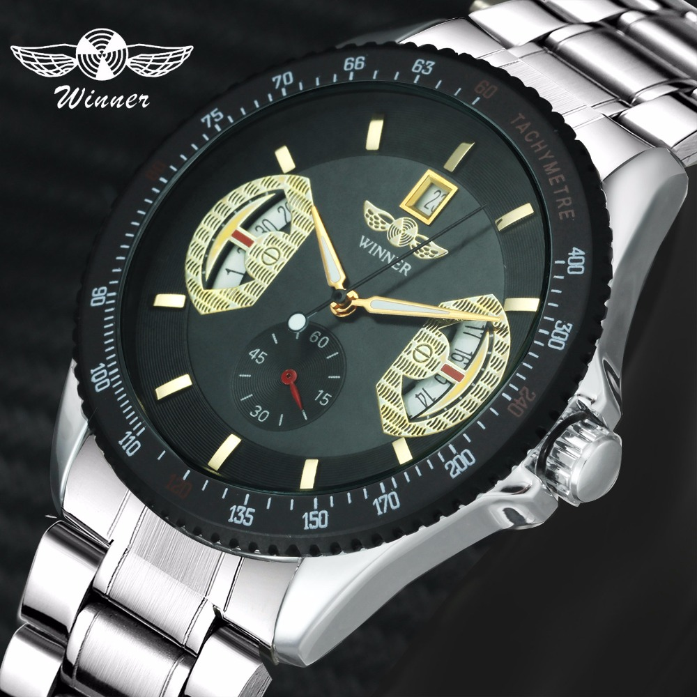 WINNER Fashion Military Auto Mechanical Watch Men Stainless Steel Strap Working Sub-dial Date Display Top Brand Luxury WatchesWINNER Fashion Military Auto Mechanical Watch Men Stainless Steel Strap Working Sub-dial Date Display Top Brand Luxury Watches
