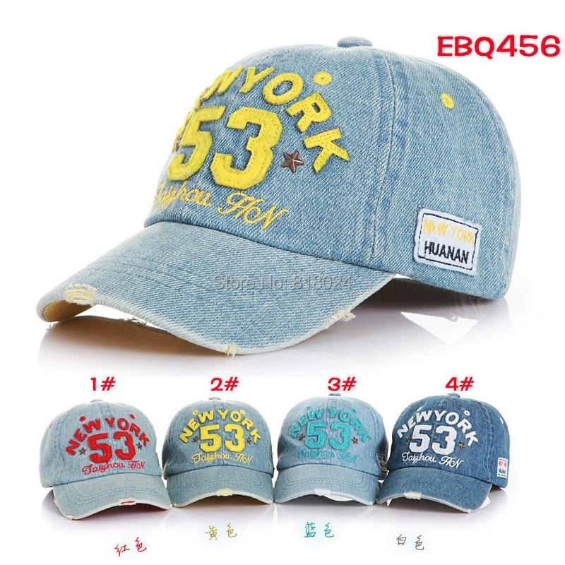 Brand New High Quality 2017 Kids Baseball Caps Baby Has Caps Fashion Letter Jean Denim Cap