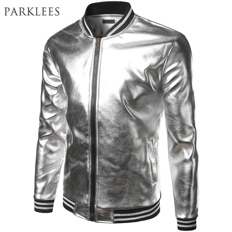 Silver Metallic Coated Jacket Men 2017 Spring Bomber Jackets Men Casual Slim Fit Varsity Jackets Hip Hop Nigh Club Shiny Jackets lakers шорты