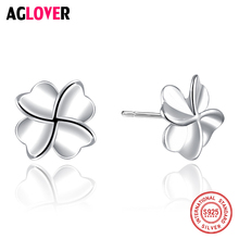 Fashion Jewelry Silver Genuine 925 Stud Earrings Lucky Clover Smooth Flower Sweetheart Accessories Wedding Heart Earrings Women