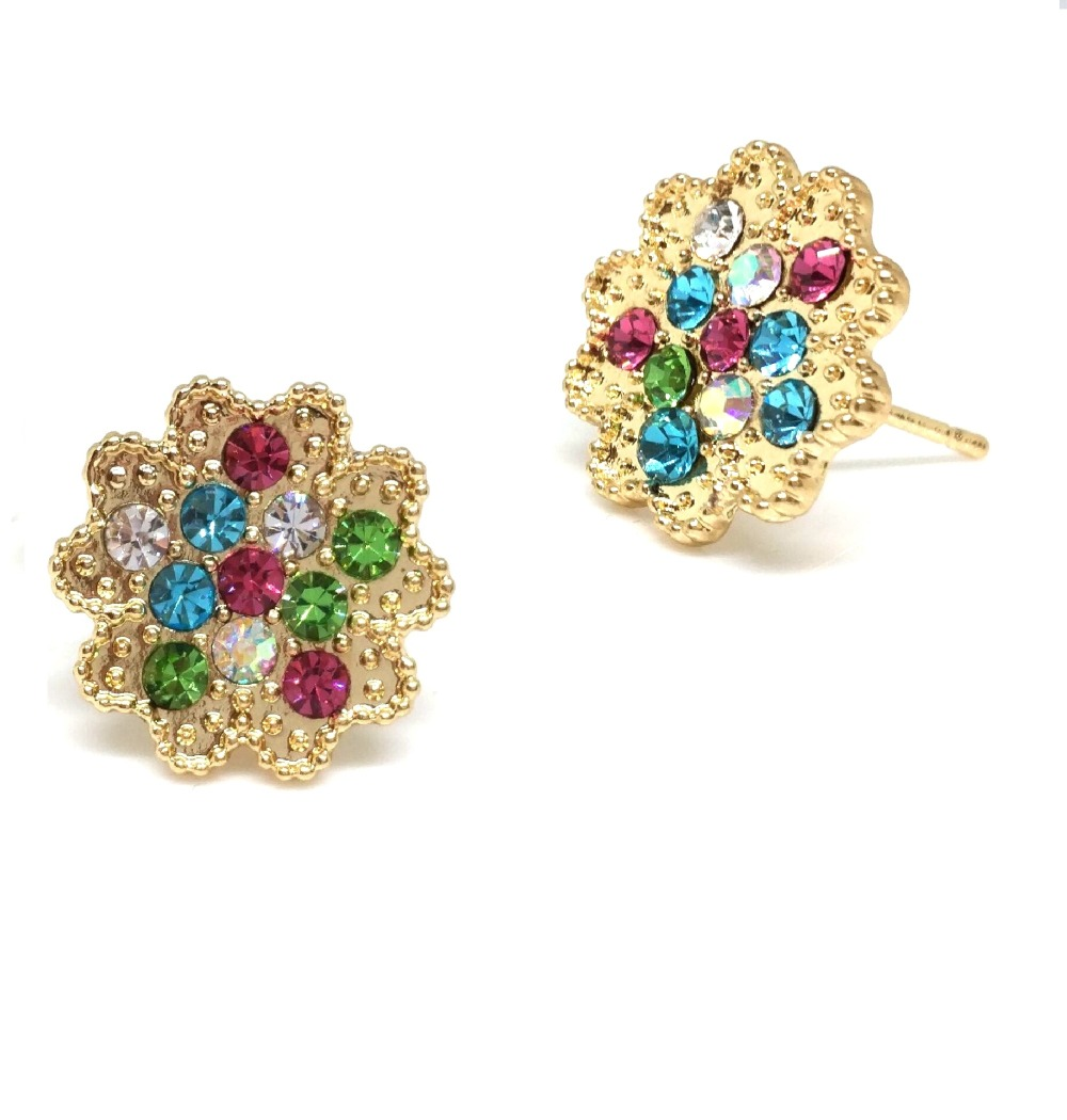 multi gold crystals color swarovski earring earrings pave stones