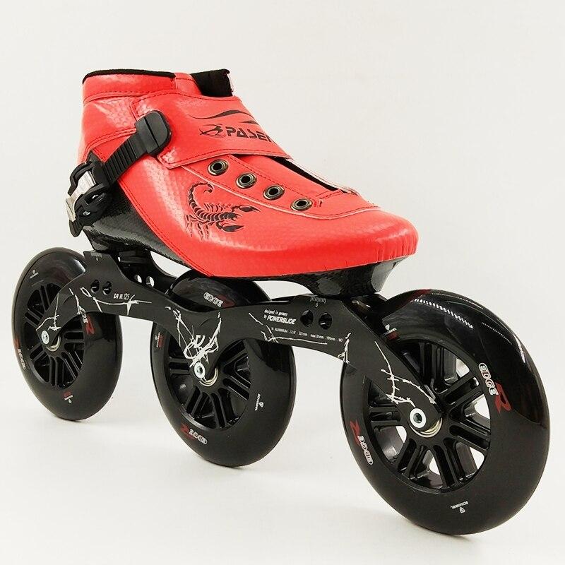 Prix pour Nouveau 2017 PASENDI Vitesse De Patinage Chaussures Femmes Hommes Patins à roulettes 3X125 Cadre Bottes Adultes Grand 3 Roues Inline Skate Carbone Fiber