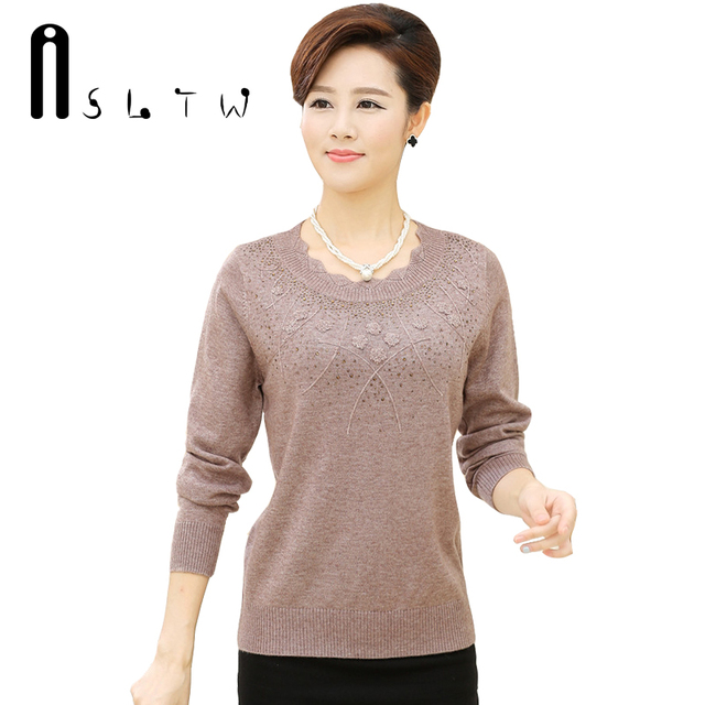 Hot Selling New Plus Size Autumn Winter Cashmere Lotus Leaf Collar Knitwear Mother Sweater With Diamonds Long Sleeve Pullover