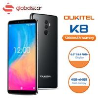 OUKITEL K8 Android 8.0 Cell Phone 6.0 FHD+ 18:9 MTK6750T Octa Core 4G RAM 64G ROM 5000mAh 13.0MP Fingerprint Face ID Smartphone