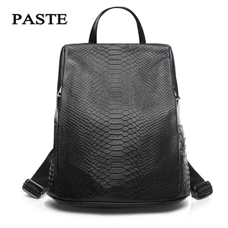 2018 Luxury Serpentine Pattern Cowhide Leather Backpack for Women Shoulder Bag Anti theft Design Travel Bag