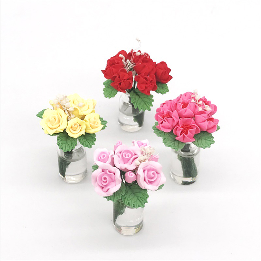1//12 Dollhouse Miniature Clay Potted Rose Flower Plant Craft Ornament Decor US