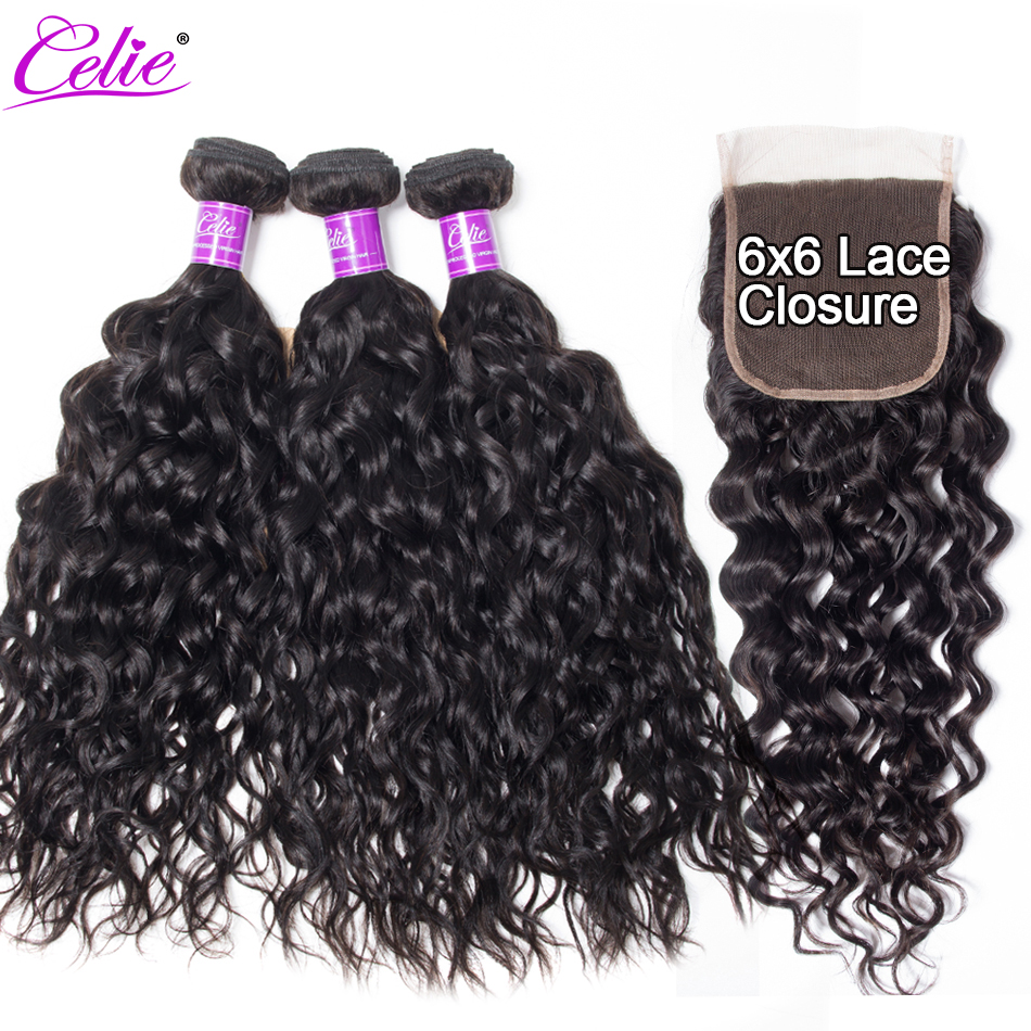 Celie Hair Water Wave Bundles With 6x6 Lace Closure Brazilian Hair Weave 3 Bundles With Closure