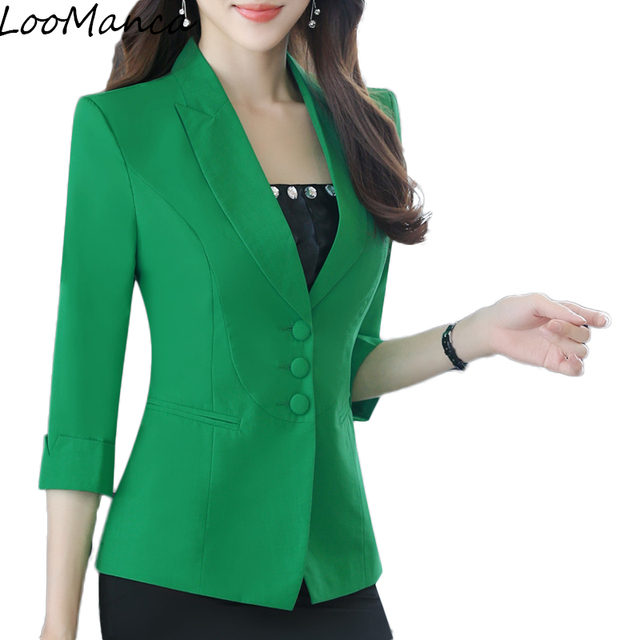 75e82becc30bd Casual Ladies Blazers jackets New 2019 Summer Small Thin Formal Korean  Small Suit jacket Women Work Lady Coat Plus Size