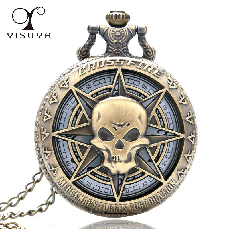 Vintage Hollow Skull Steampunk Pocket Watch With Necklace Chain White Dial Round For Men Women Gift Reloj Bolsillo