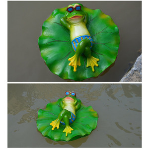 Image 4 - Creative Resin Floating Frogs Statue Outdoor Garden Pond Decorative Cute Frog Sculpture For Home Desk Garden Decor Ornament