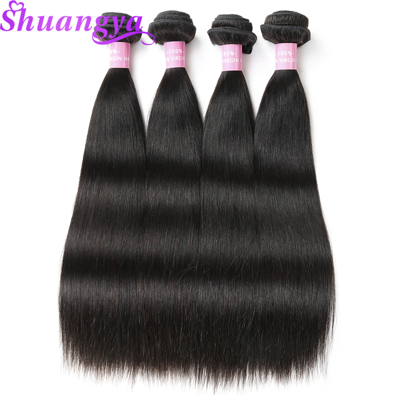 Peruvian Straight Hair 4 Bundles Deals 100 Human Hair Weave Natural Color 8 28 Inch Remy
