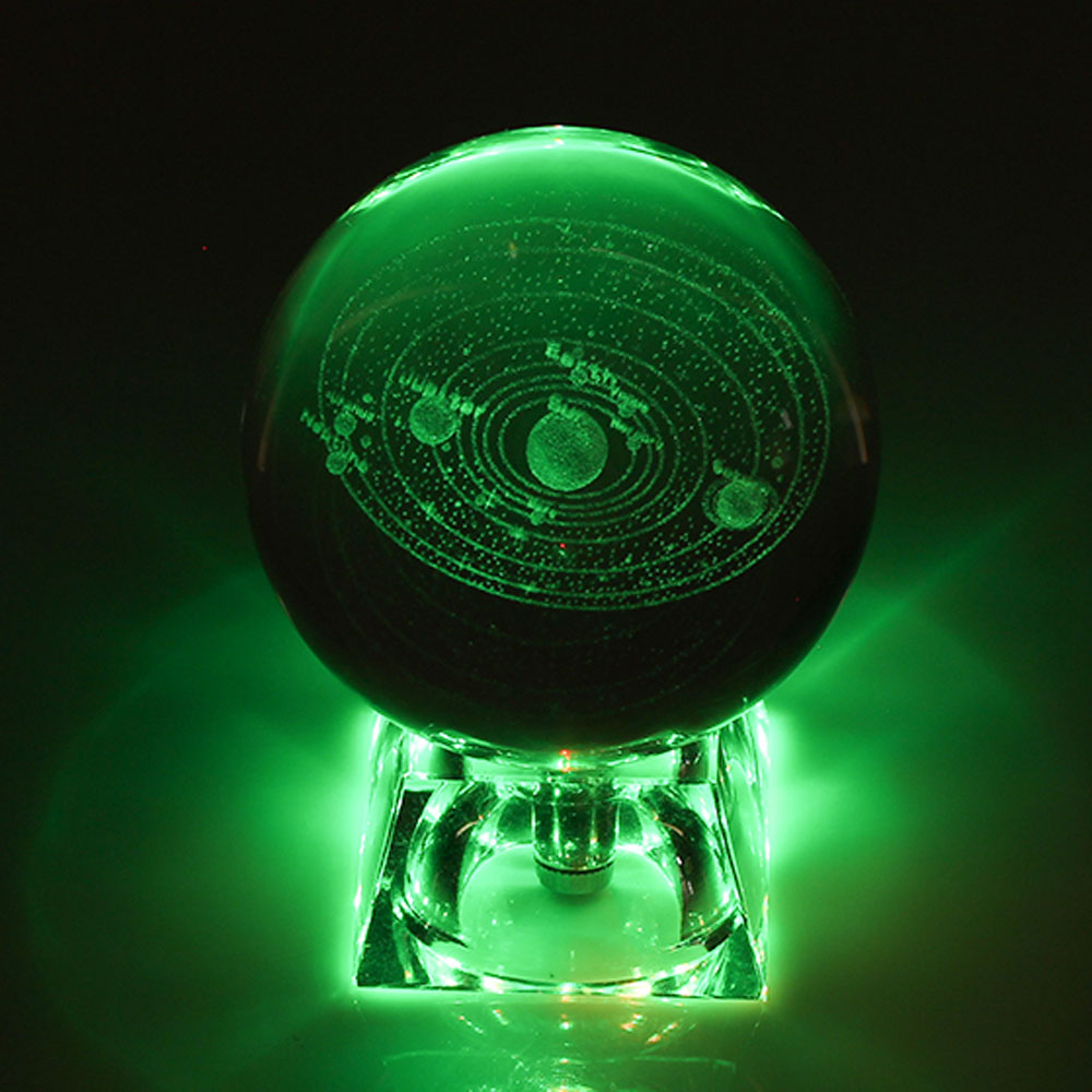 6cm 3D Engraved Galaxy Solar System Crystal Lamp Night Light Luminous Craft Glass Round Sphere Home Office Desk Decor Lamp