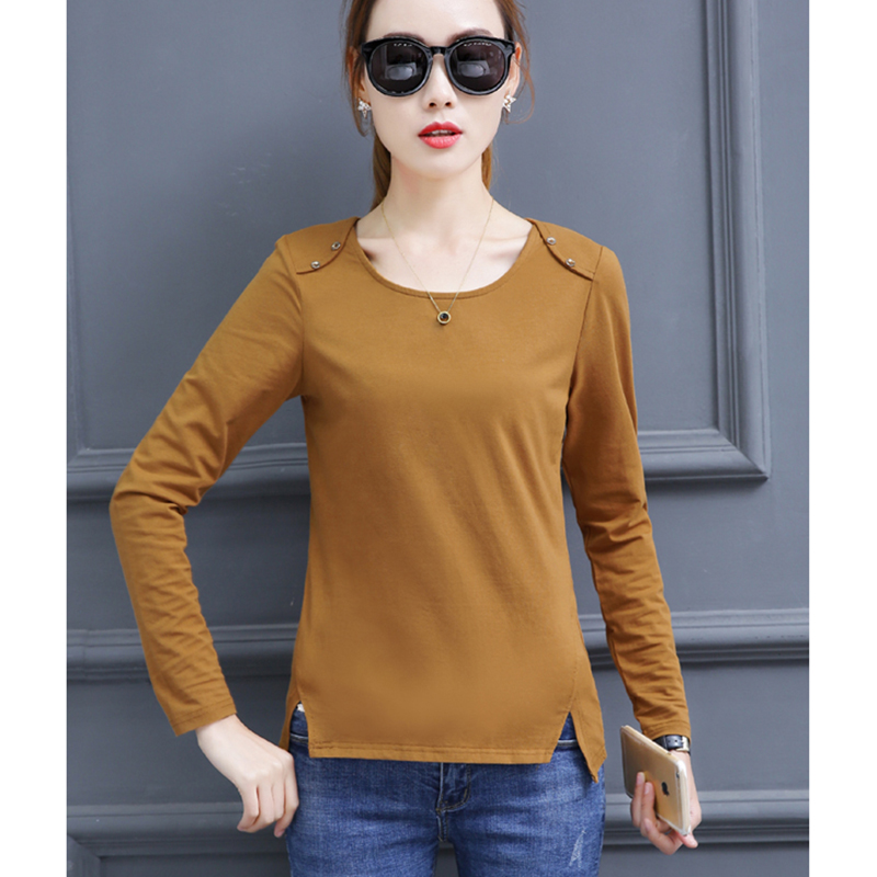 Plus Size Cotton T Shirt Women Tops 2018 Autumn Korean Vogue Woman Tshirt Button