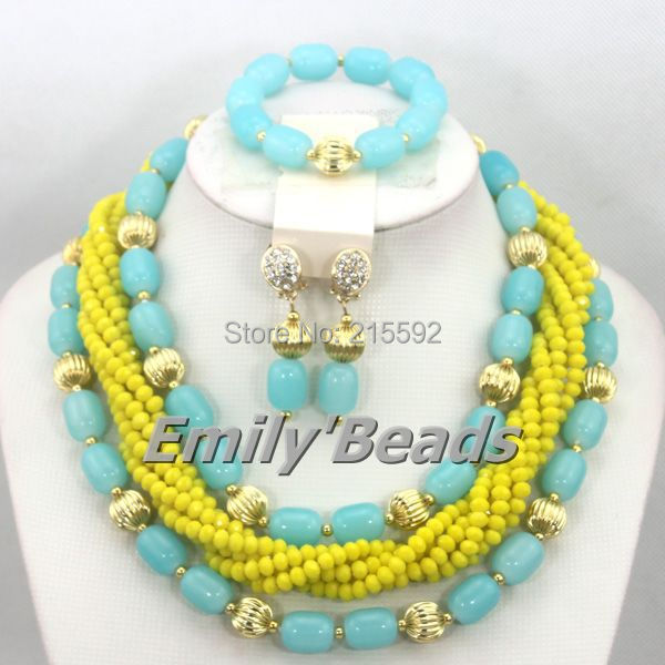 Amarelo Africano Nigeriano Contas de Casamento Conjunto de Jóias Céu Azul  Artificial Coral Pérola Conjunto de 96d5b9cc191e8