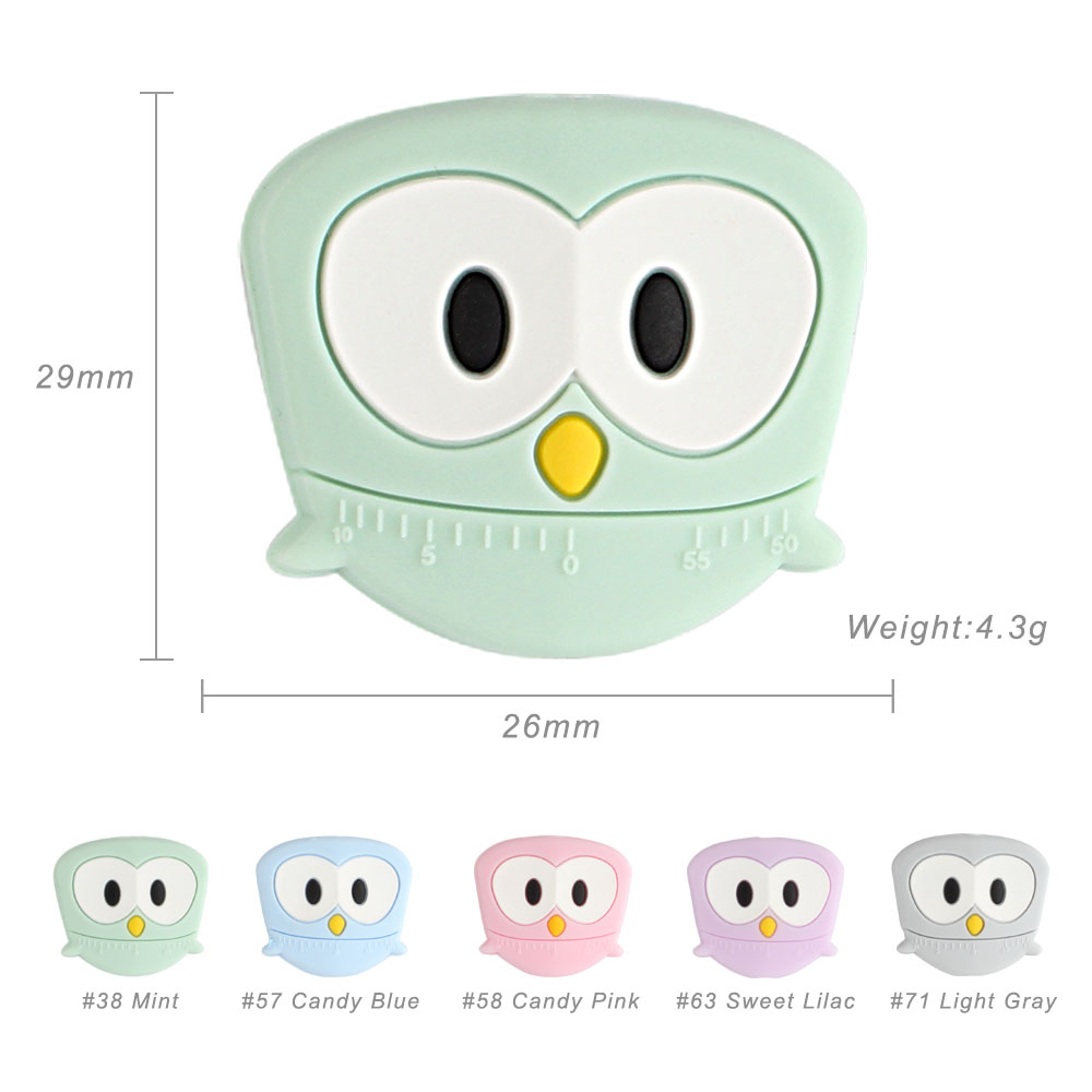 100pcs Silicone Beads rodent owl Silicone Teething Beads Accessories silicone rodent Making Necklace Pendant Baby Products