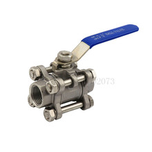 304Stainless Steel BSP 1/2 DN15 3-Piece Full Port Ball Valve Thread 1000WOG Handle with Blue Vinly Insulation Homebrew Hardware