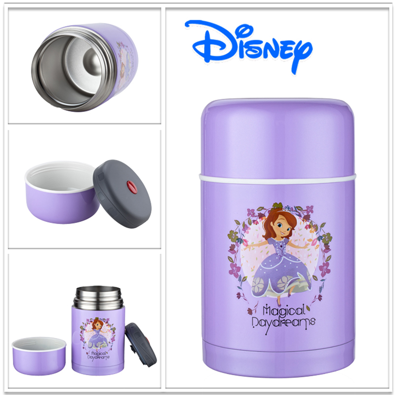 Disney Sofia Dory 750ml Stainless Steel Vacuum Insulated Lunch Box for Children White and Purple Kids