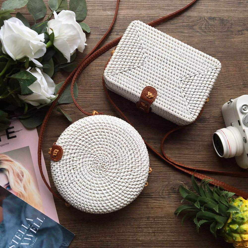 White Round/Rectangular Straw Bag 2019 New Women Handbags Summer Rattan Bag Bali Handmade Woven Beach Shoulder Crossbody Bag bracelet