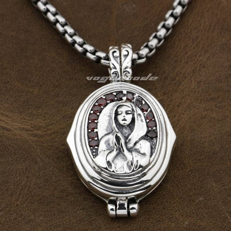 925 Sterling Silver Openable Virgin Mary JESUS Red CZ Mens Biker Pendant 9F006 (Necklace 24inch)