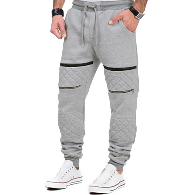 Vertvie Mens Fitness Sport Training Jogging Runnning GYM Sports Pants Drawstring Zipper Male Sweatpants Loose Full Legth Pants
