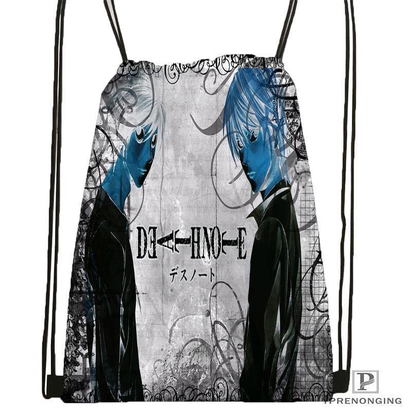 Custom Death Note Drawstring Backpack Bag for Man Woman Cute Daypack Kids Satchel Black Back 31x40cm